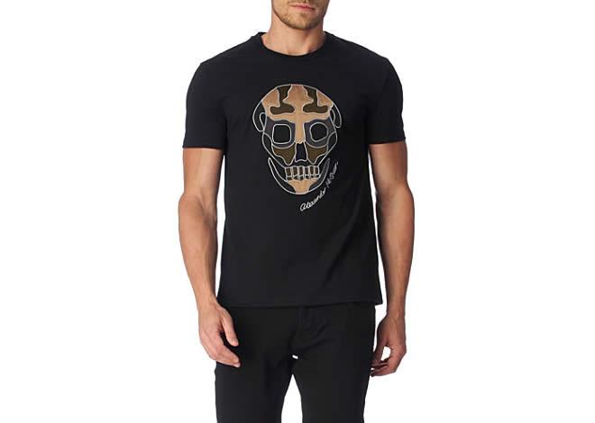 T-shirt crânio camuflado ALEXANDER MCQUEEN