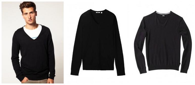 ... uma camisa branca é a combinação com Pullover preto com gola V. Ele  funciona bem em uma sobreposição com um terno e também com apenas jeans. 3cf9dee200fbc