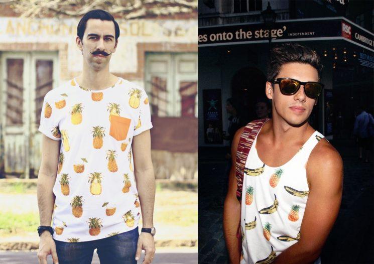 Camiseta masculina com estampa de frutas