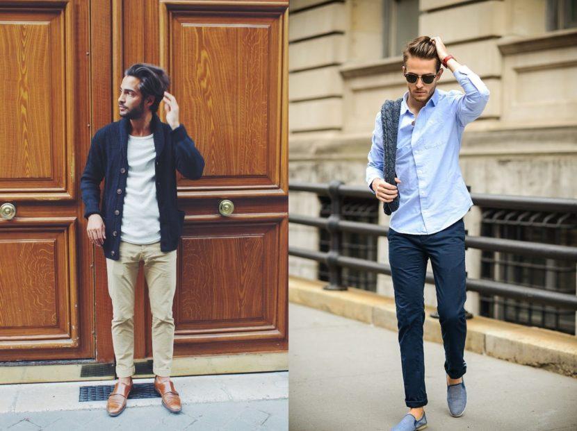 Barra curta e tornozelos aparentes para homens