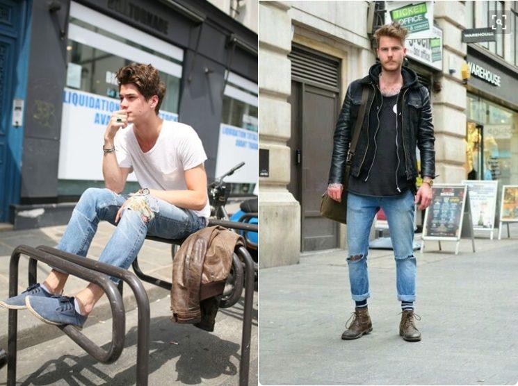 Jeans rasgado continua para os homens