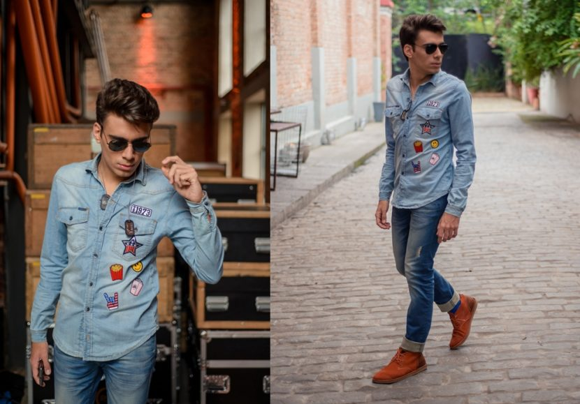 Outfit do dia #20: camisa jeans masculina com patches